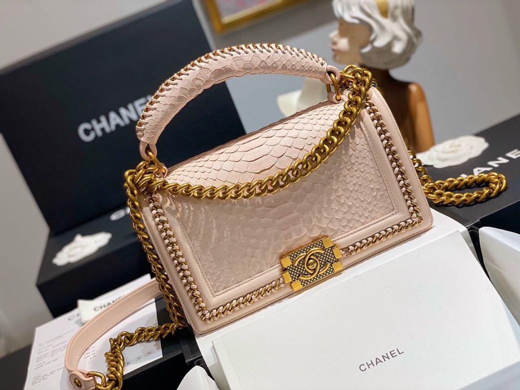 Túi Xách Chanel Boy Mãng Xà – Hồng