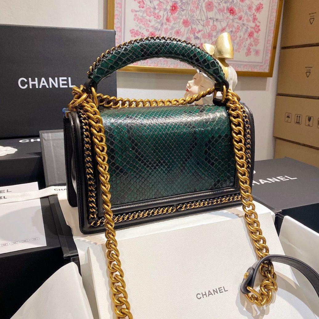 Túi Xách Chanel Boy Mãng Xà - Rêu