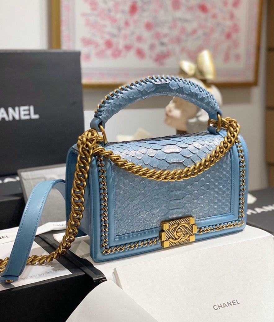 Túi Xách Chanel Boy Mãng Xà – Xanh