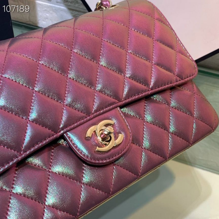 Túi Xách Chanel Classic – Tím Nhũ