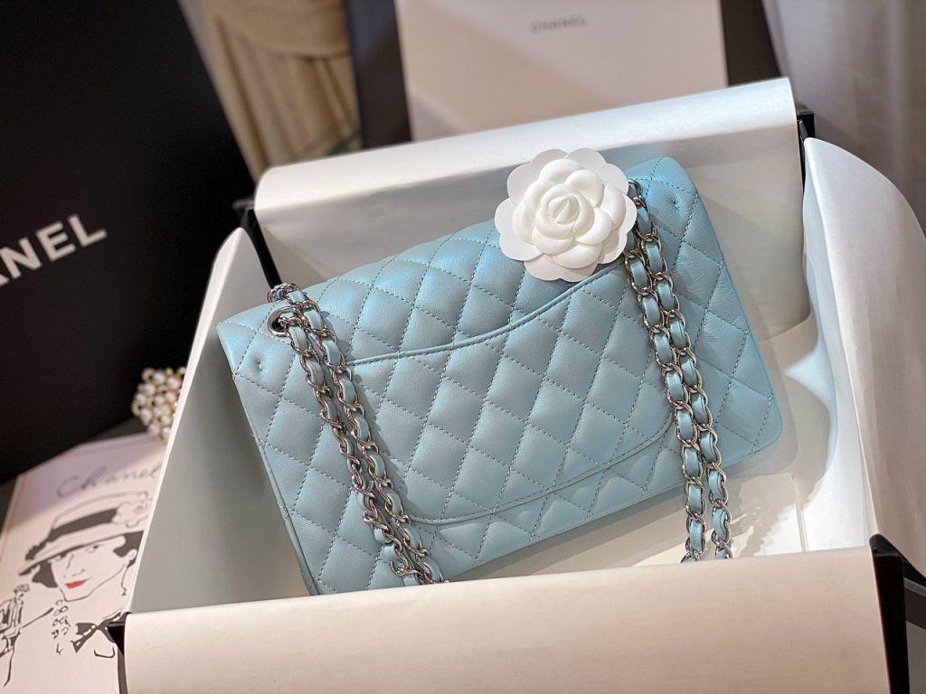 Túi Xách Chanel Classic Xanh Khóa Bạc