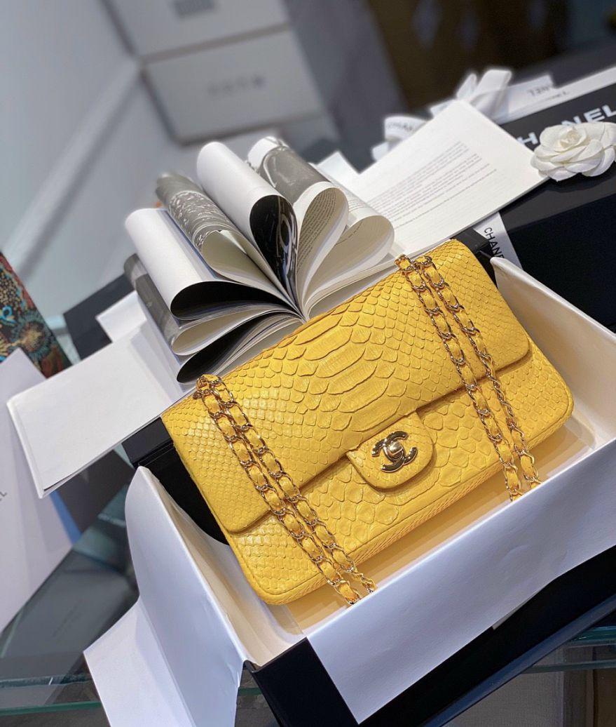 Túi Xách Chanel Classic Mãng Xà – Vàng
