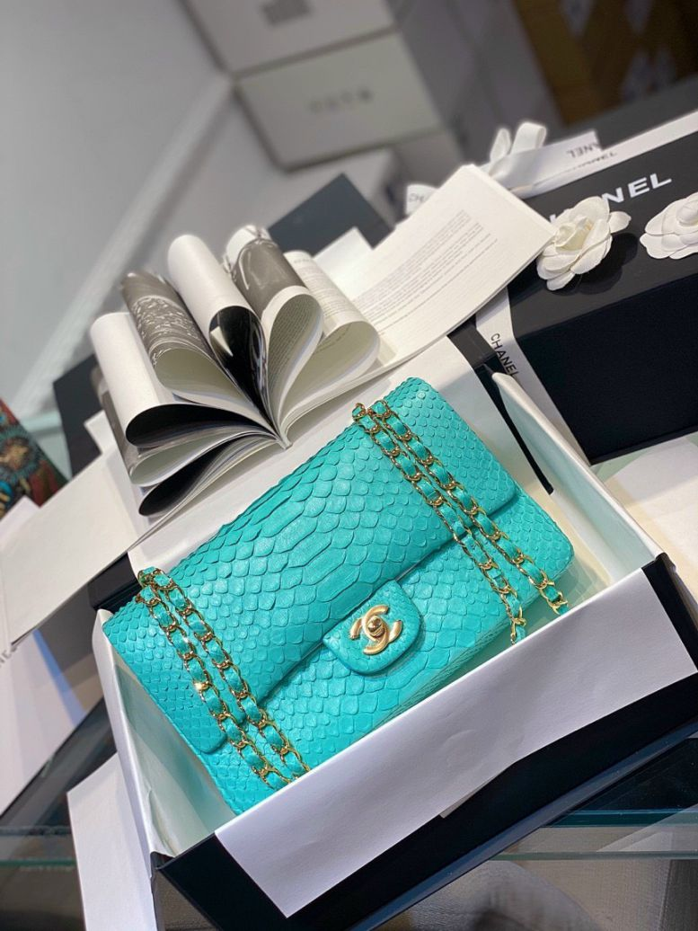 Túi Xách Chanel Classic Mãng Xà – Xanh