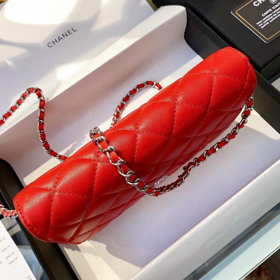 Chanel Classic Wallet On Chain – Đỏ Mịn