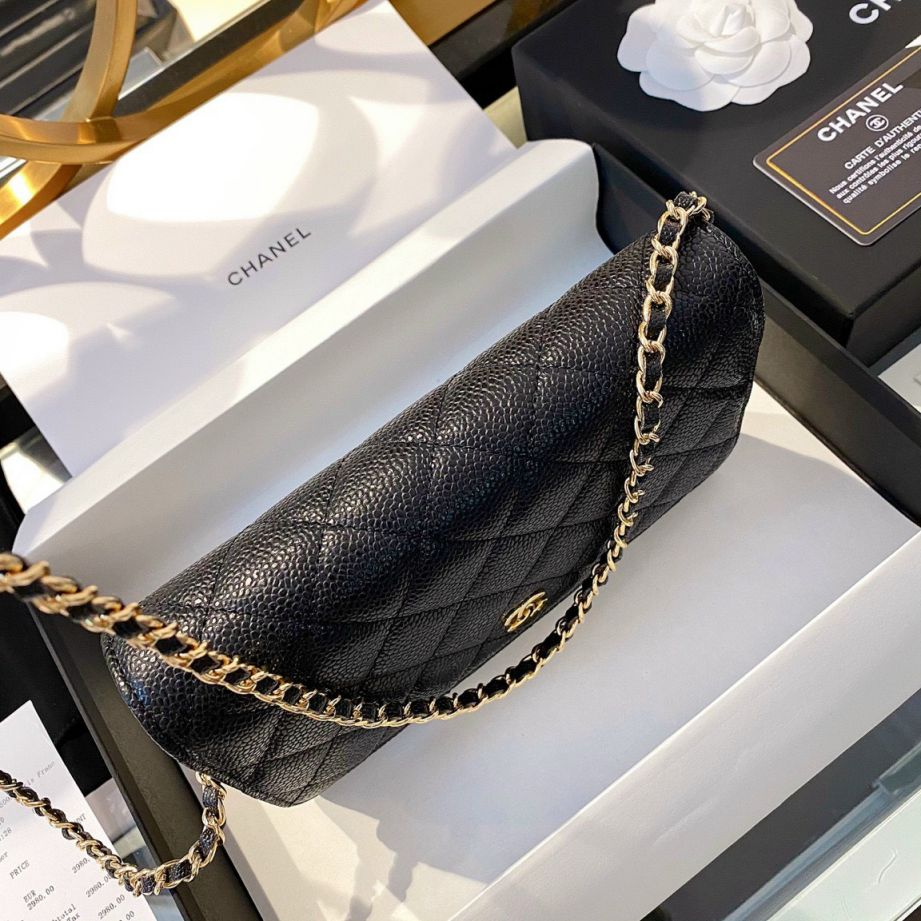 Chanel Classic Wallet On Chain – Đen Hạt