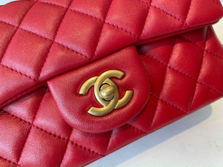 Chanel Mini Flap Bag With Top Handle – Đỏ