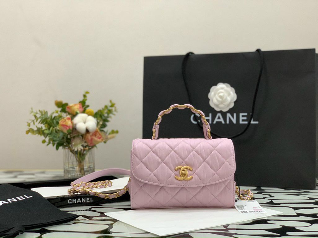 Chanel Small Flap Bag With Top Handle – Hồng