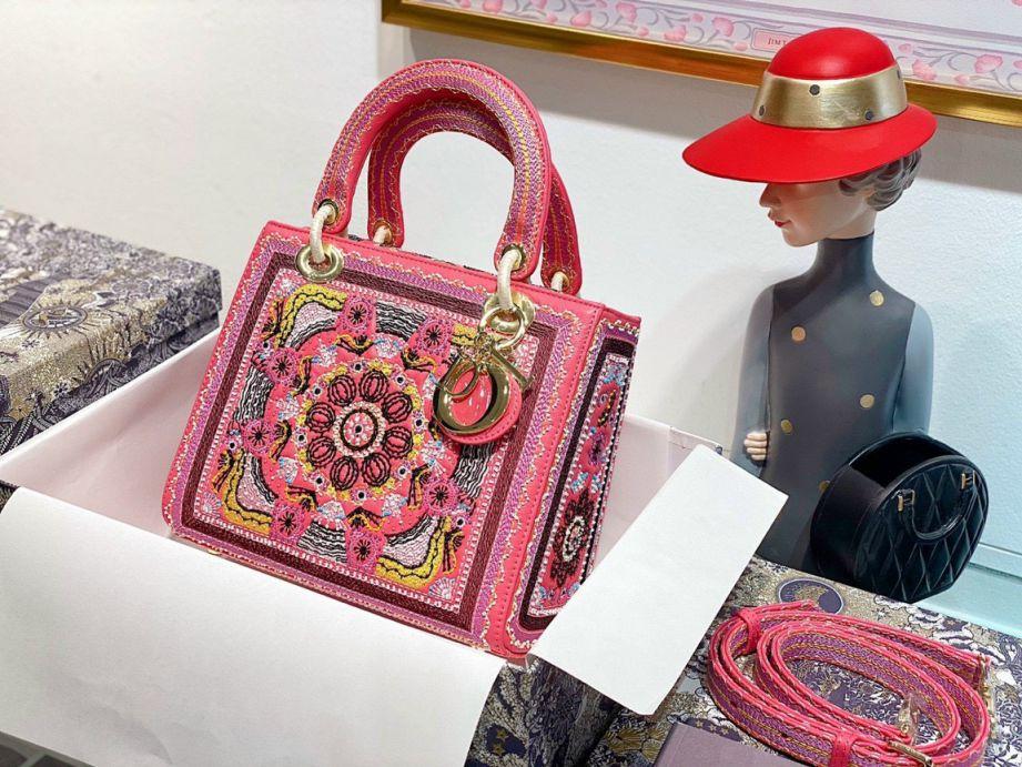 Túi Xách Dior Medium Lady D-Lite Bag - Hồng