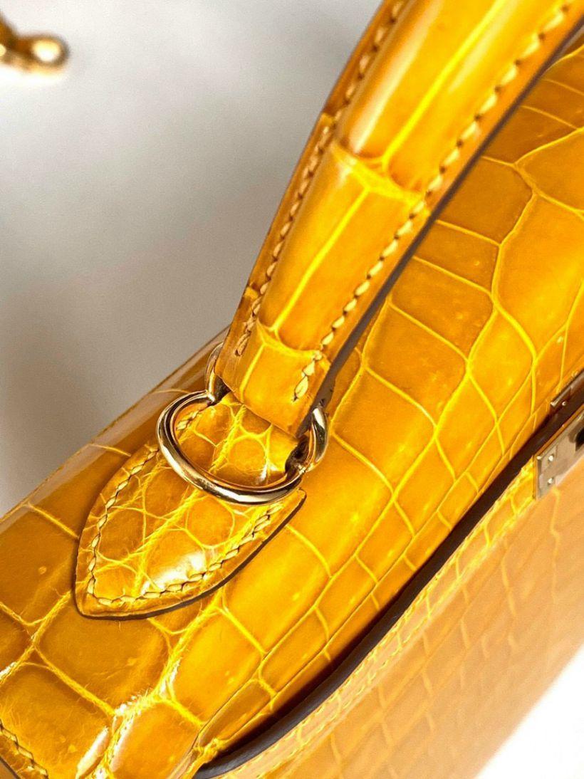 Túi Xách Hermes Kelly – Vàng Da Cá Sấu