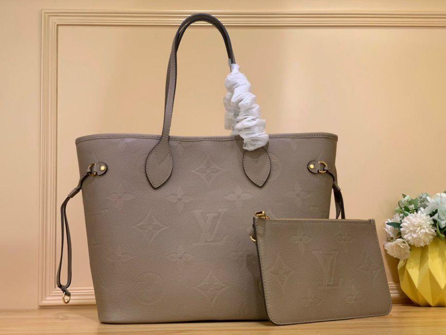 LV Neverfull MM Tote Bag - Ghi