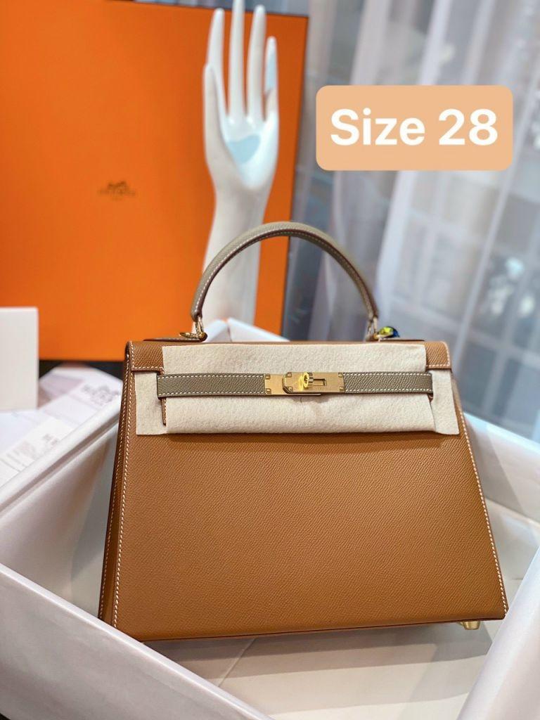 Túi Xách Hermes Kelly Nâu Phối Ghi Đậm Size 28