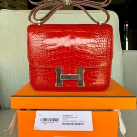 Hermes Constance – Đỏ Da Cá Sấu
